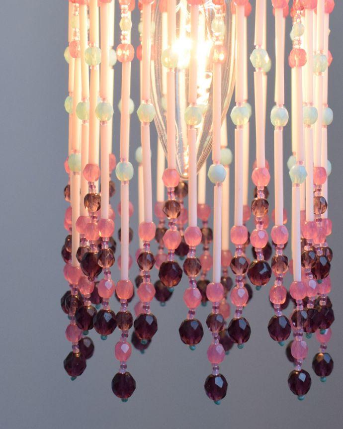 BR-BP ビーズランプ ベビーピンクの点灯アップ