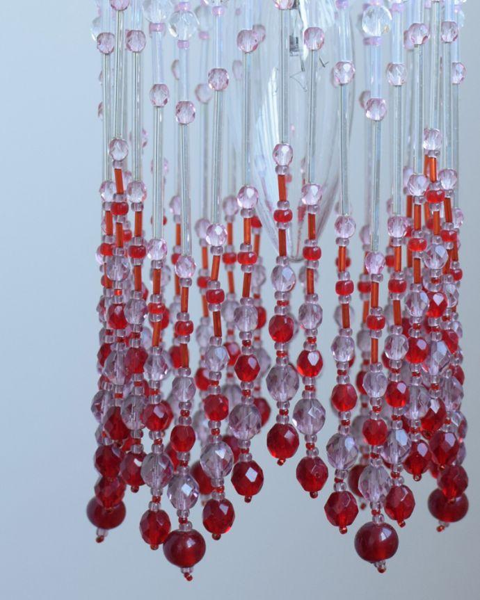 ペンダントライト 照明・ライティング ビーズランプ クランベリー(コード・シャンデリア球・ギャラリーなし)。赤とピンクの組み合わせがロマンティックな雰囲気です。(BR-CB)