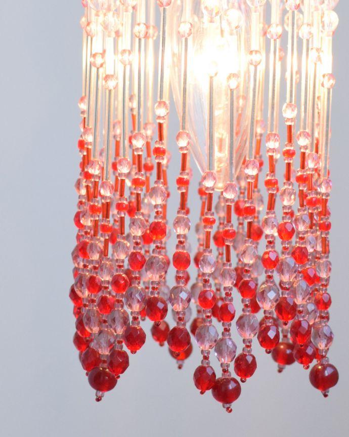 ペンダントライト 照明・ライティング ビーズランプ クランベリー(コード・シャンデリア球・ギャラリーなし)。ライトをつけると色のグラデーションが壁にも映し出されてとてもキレイです。(BR-CB)