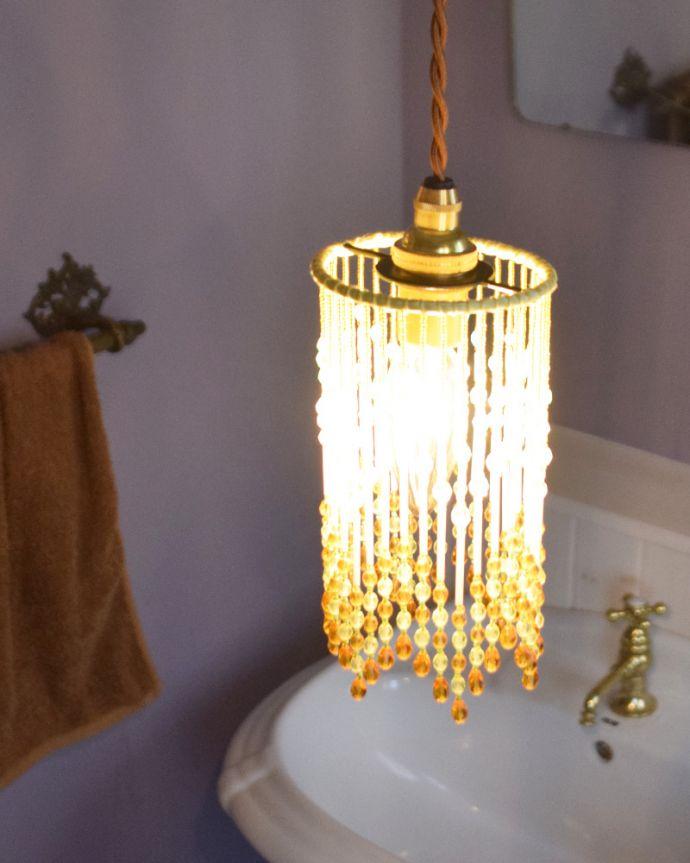 ペンダントライト 照明・ライティング ビーズランプ シトラスイエロー(コード・シャンデリア球・ギャラリーなし)。お昼は太陽の光に輝くビーズを、夜はビーズランプからの光が壁や天井に映った陰影を、楽しんで下さい。(BR-CY)