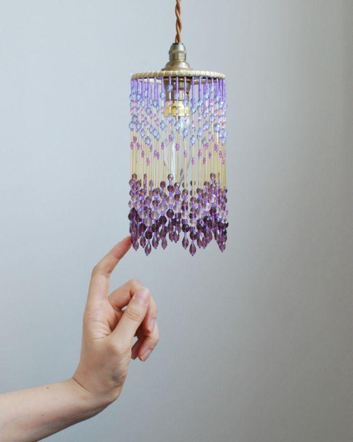 ペンダントライト 照明・ライティング ビーズランプ ライラック(コード・シャンデリア球・ギャラリーなし)。ビーズランプは、手作りのため多少、誤差があったり、気泡やキズ、汚れが入っている場合もあります。(BR-RL)