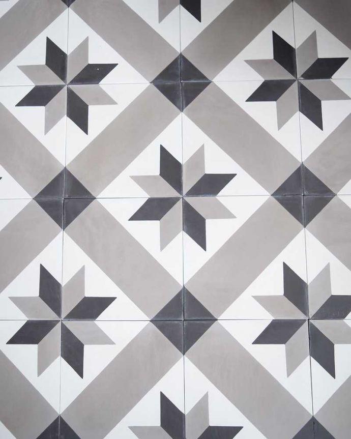 床材 お部屋づくりの材料(建材) デザインタイル(étoile)おしゃれなアンティーク風の星モチーフ。フランスの伝統柄タイルを組み合わせていくと、フランスのパッサージュを歩いているようなフランス伝統の星型デザインが浮かび上がります。(HOT-09)