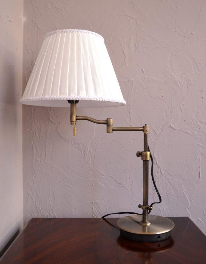 スタンドライト 照明・ライティング 布シェードからこぼれる柔らかな灯り、高さが調整できるテーブルランプ(プルスイッチ)(電球なし)。スイングアームなので、光が欲しいところに当てることができます。(TL-0031)