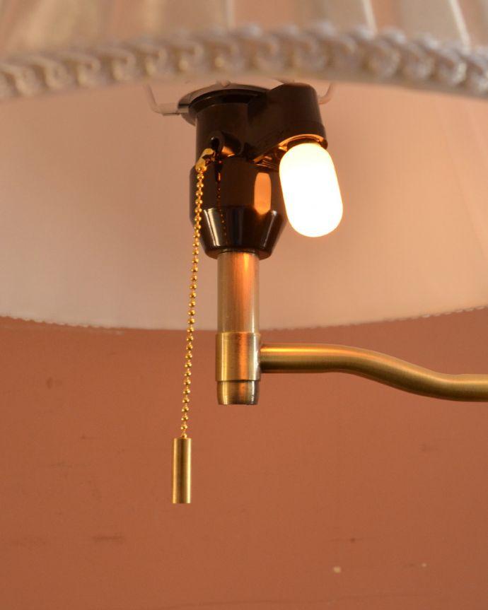 スタンドライト 照明・ライティング 布シェードからこぼれる柔らかな灯り、高さが調整できるフロアランプ(プルスイッチ)(電球なし)。ナツメ球も使えるので、寝室でも使えるフロアランプです。(TL-0032)