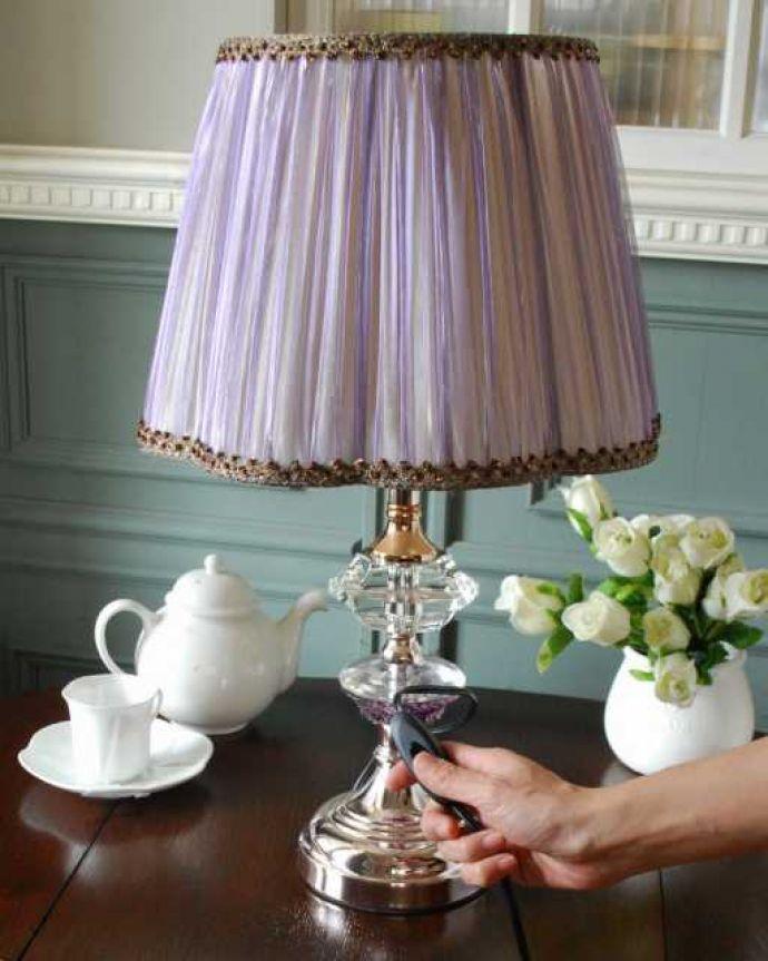 スタンドライト 照明・ライティング フランス風のおしゃれなテーブルランプ(バイオレット)。スイッチON!片手で簡単に切り替えられるオン・オフのスイッチが付いています。(TL-0076)