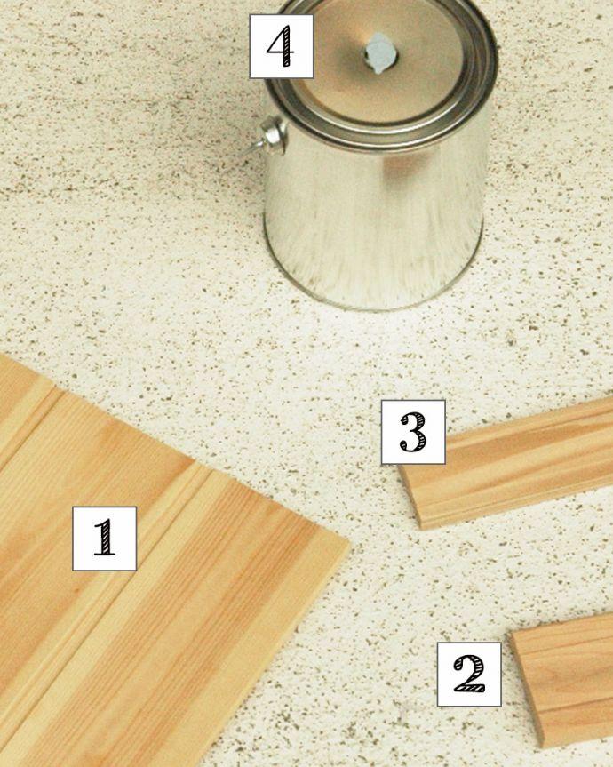 板壁・モール お部屋づくりの材料(建材) Handleオリジナル板壁キット。板壁キットセット内容①壁用の板、②幅木、③モール、④ペイント&シーラーをセットでお届けします。(TOK-A)