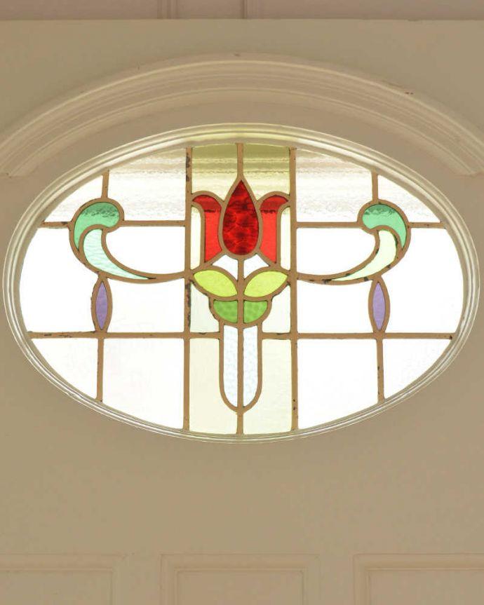 WN-0056 アンティークステンドグラス入りドアのガラス