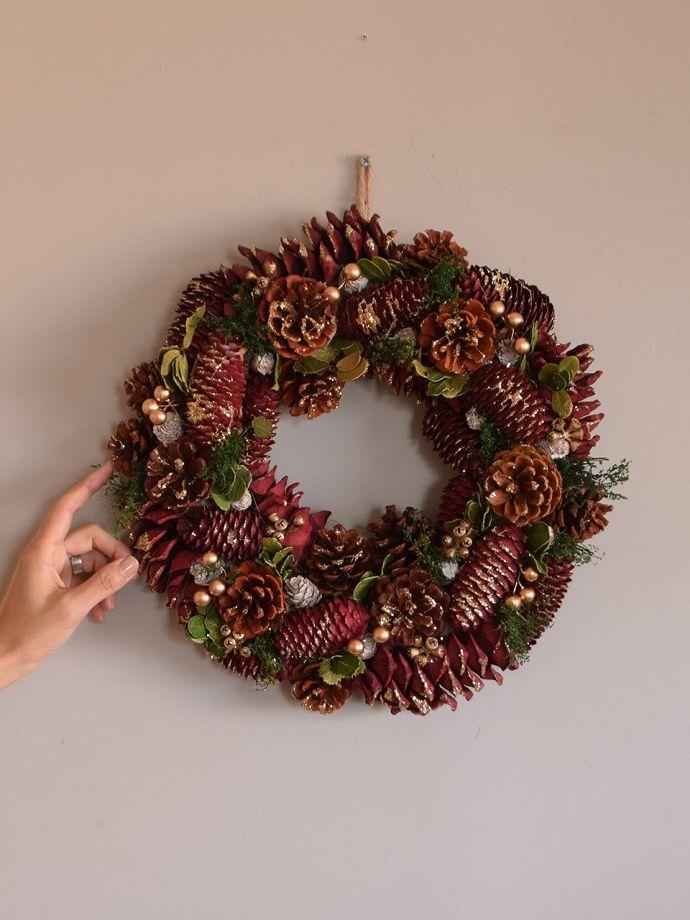 クリスマス用 クリスマスリース 横から見ると壁に掛けるだけで、クリスマス気分を盛り上げてくれます。(cm-190)