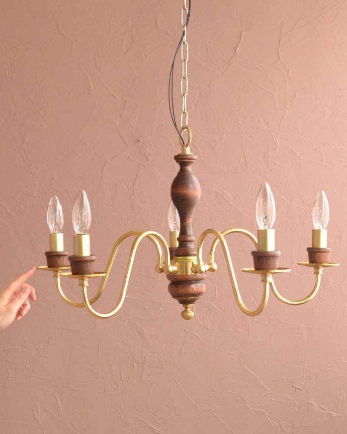 シャンデリア 照明・ライティング 木製×真鍮のコラボが人気のアンティーク風の木製シャンデリア(5灯・電球なし)。。(cr-516-g)