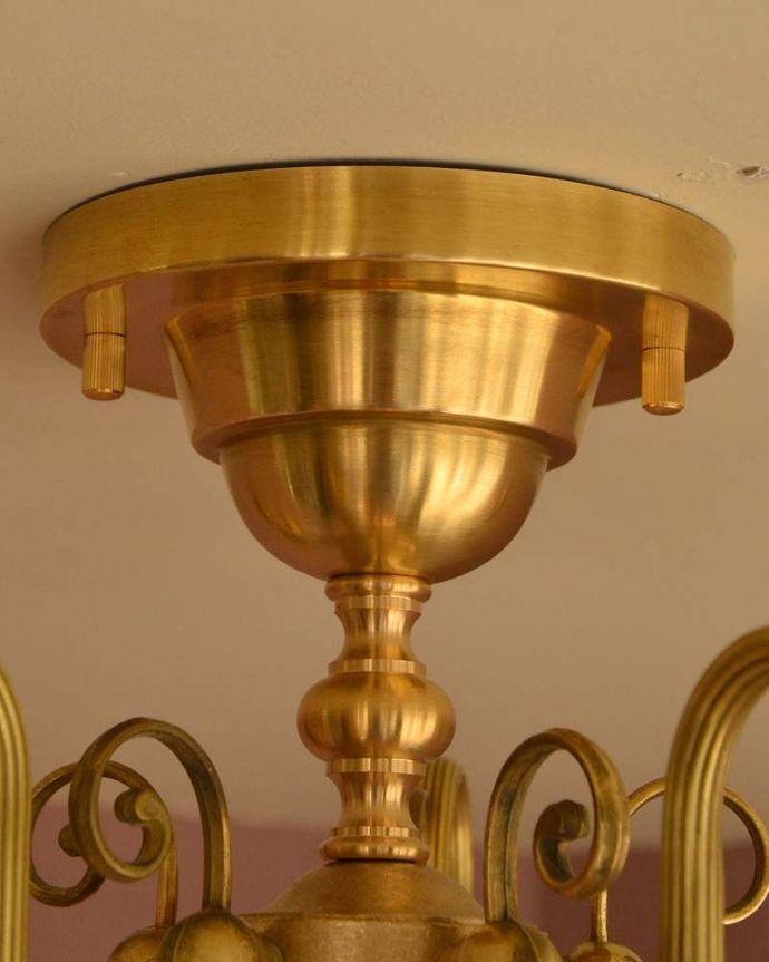 シャンデリア 照明・ライティング シーリングタイプのアンティーク風真鍮製シャンデリア(5灯・電球なし) 。カバーも付いています。(cr-519-g)