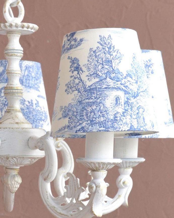 シャンデリア 照明・ライティング フランス風の5灯シャンデリア(トワルド・ジュイ・ブルー・電球セット)。美しいフォルムですアンティークをモチーフにした優雅なフォルムが美しいです。(cr-538)