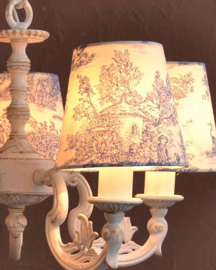 シャンデリア 照明・ライティング フランス風の5灯シャンデリア(トワルド・ジュイ・ブルー・電球セット)。LEDも使えます口金はE17型40Wの電球をセットでお届けいたします。(cr-538)