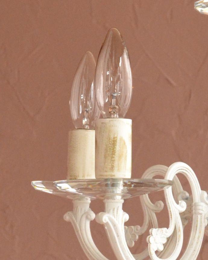 シャンデリア 照明・ライティング 5灯シャンデリア/WH 届いてすぐ使えますサービス電球(40W×5個)をもれなく一緒にお届けします。(cr-542)