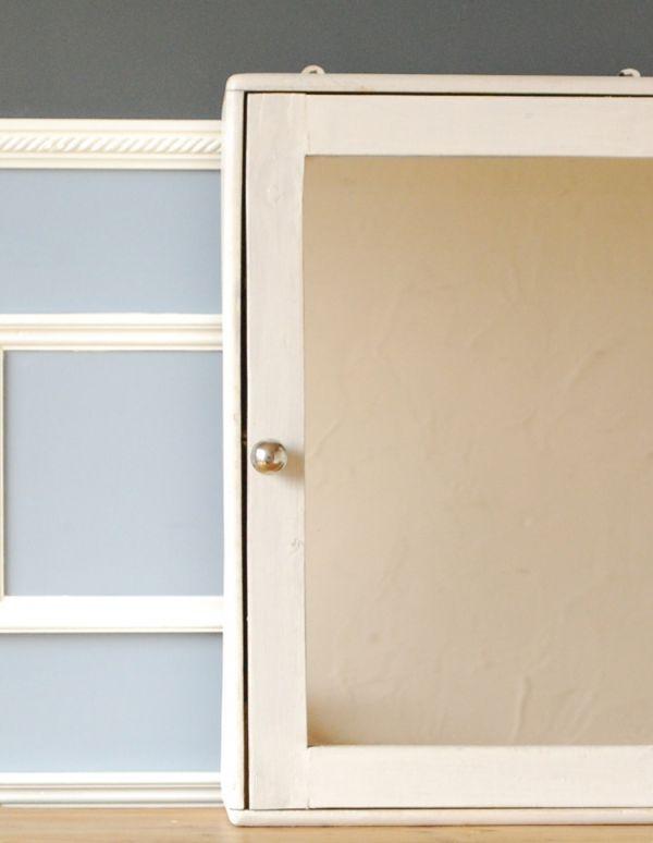 d-1076-f アンティークスモールキャビネット(ホワイト)のミラー扉