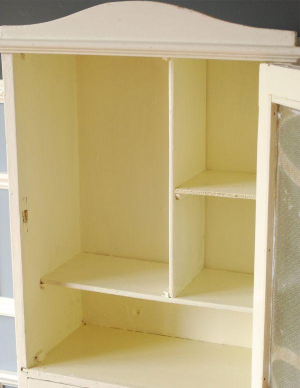 d-1079-f アンティークスモールキャビネット(ホワイト)の扉内