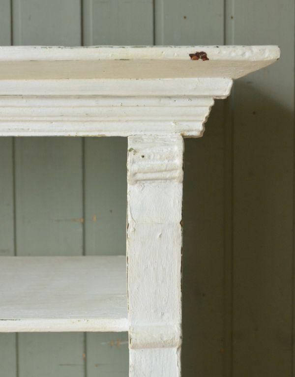 d-1123-f アンティークオープンシェルフ(ホワイト)の彫り