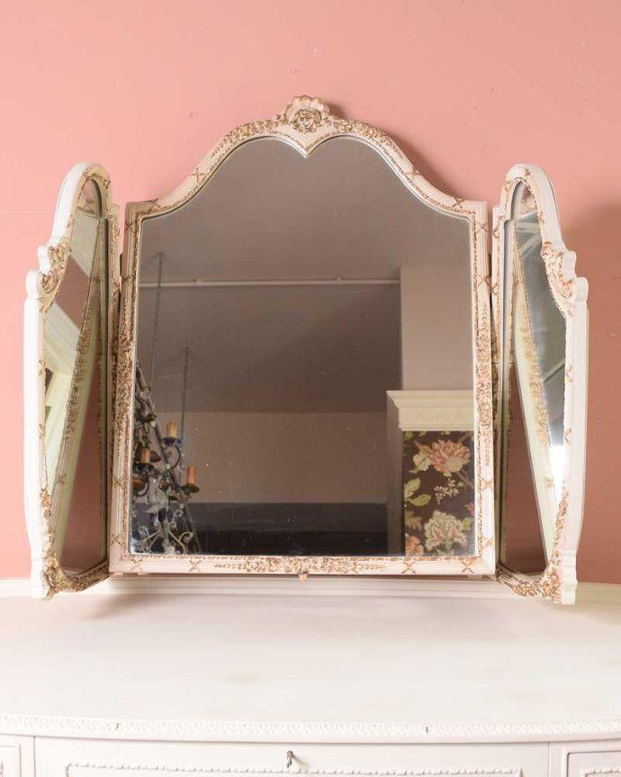 d-1349-f アンティークドレッシングテーブルの三面鏡閉じた状態