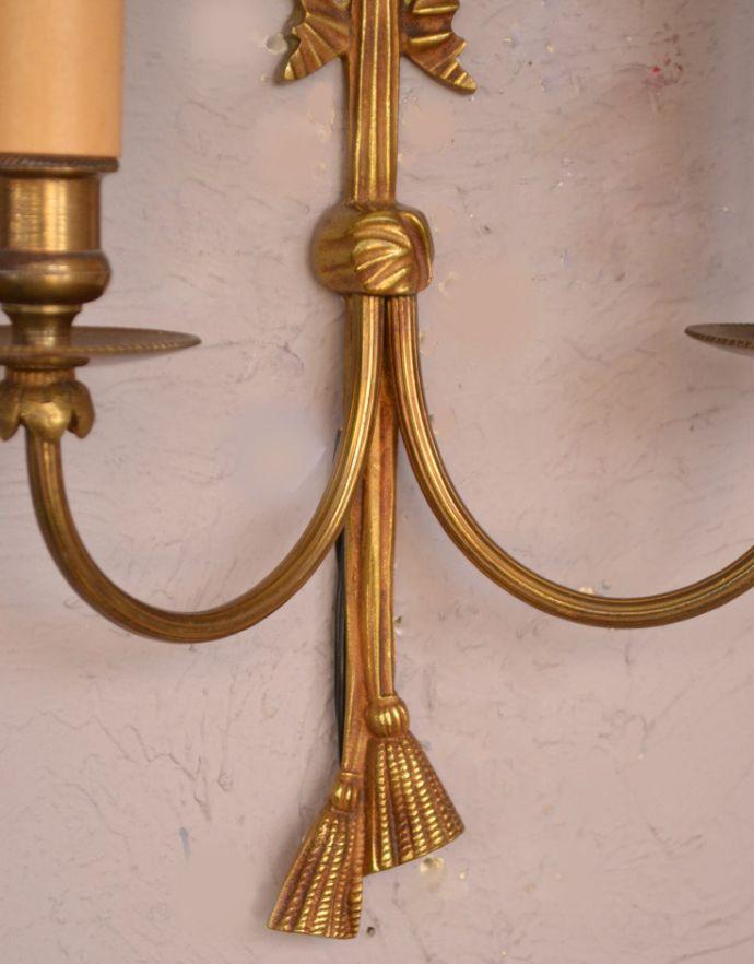 d-1389-z リボンが付いた真鍮製アンティークウォールランプ