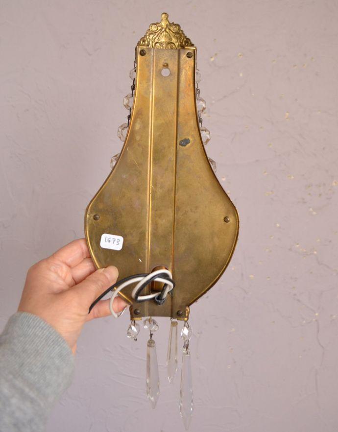 壁付けブラケット 照明・ライティング フランスのアンティーク照明、ガラスが輝く壁付けシャンデリア(E17シャンデリア球付)。直結タイプでお届けします日本仕様で配線しました。(d-1433-z)