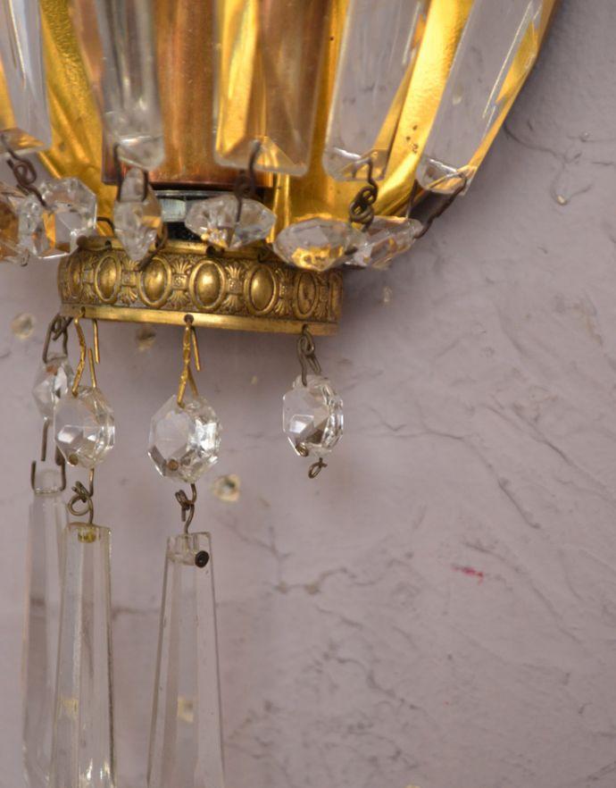 壁付けブラケット 照明・ライティング フランスのアンティーク照明、ガラスが輝く壁付けシャンデリア(E17シャンデリア球付)。ガラスパーツが1個足りません1カ所だけガラスのパーツが足りなかったのでSALE価格になっています。(d-1433-z)