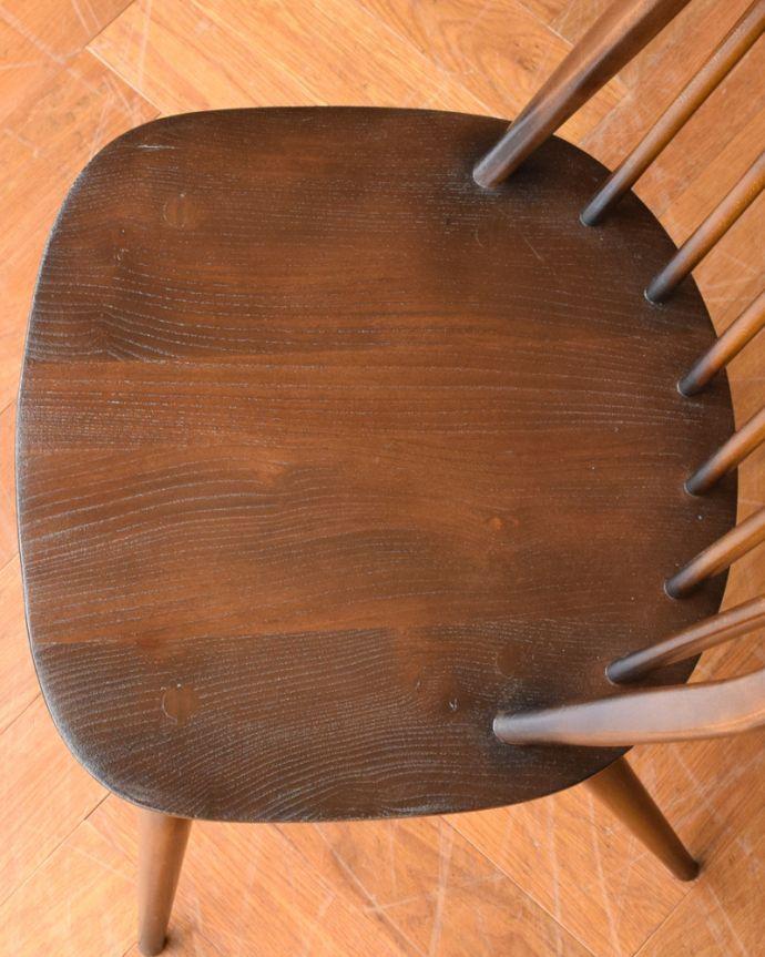 ear-6-ct アンティークアーコールフープバックチェア(チョコレート色)の座面