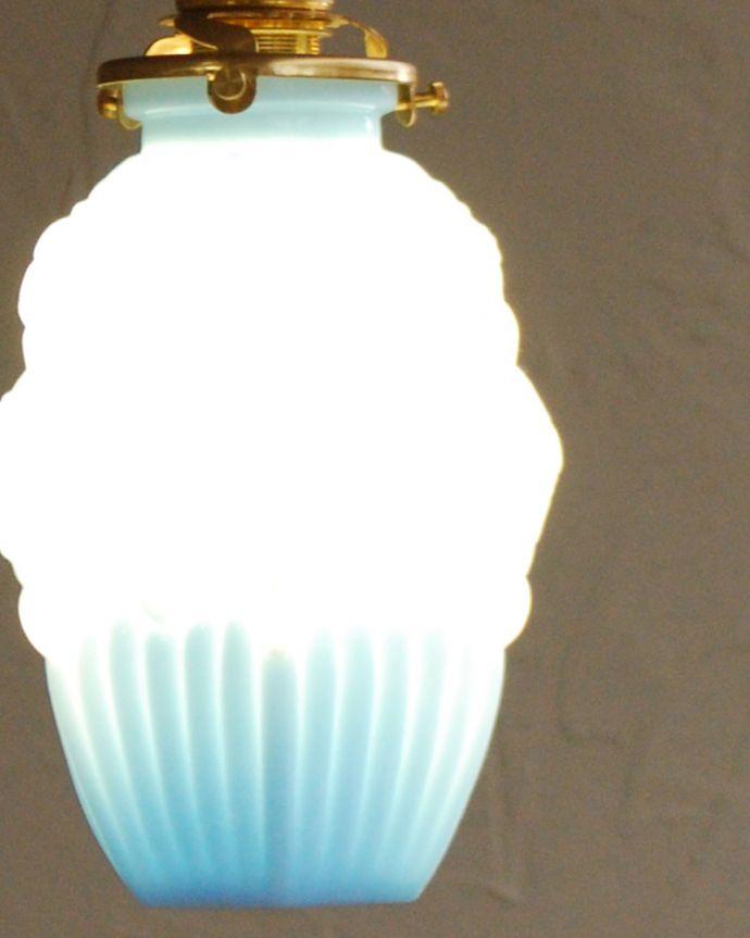 h-365-z フランス輸入、アンティークガラスのペンダントライトの点灯アップ