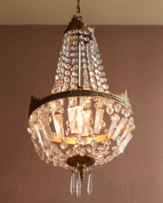 シャンデリア 照明・ライティング フランス輸入のアンティークシャンデリア(1灯)(E17シャンデリア球1個付)。。(h-722-z)