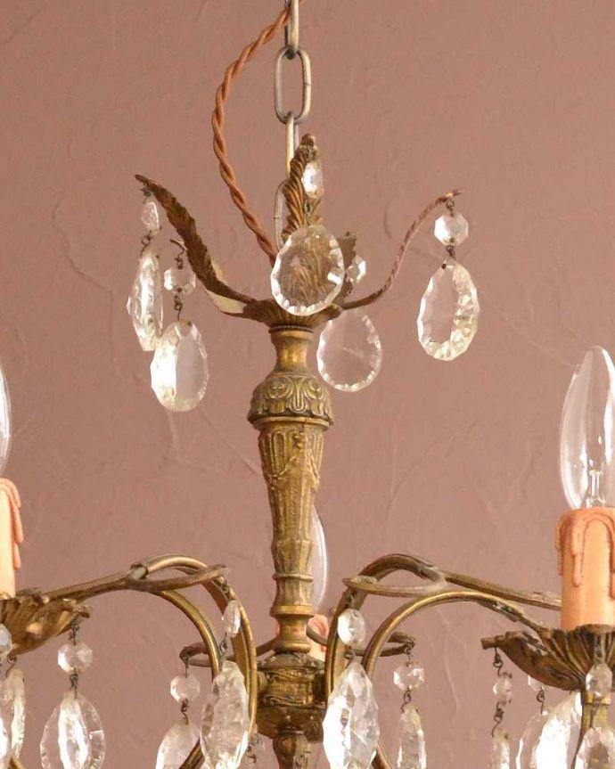 シャンデリア 照明・ライティング フランスのアンティークシャンデリア(5灯タイプ)(E17シャンデリア球付)。。(h-730-z)