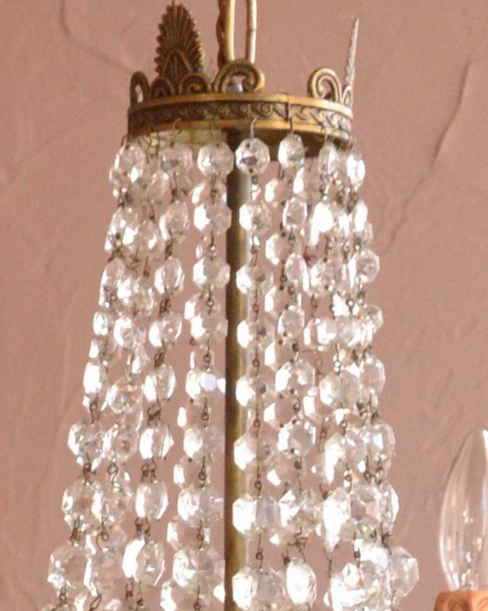 シャンデリア 照明・ライティング キラキラ輝くフランス輸入のアンティークシャンデリア(E17シャンデリア球7個付)。。(h-737-z)