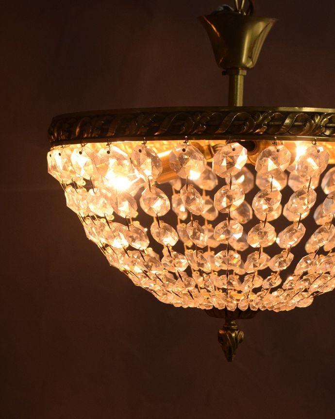 シャンデリア 照明・ライティング フランスアンティークのプチシャンデリア(2灯)(E17丸球付) 。。(h-746-z)
