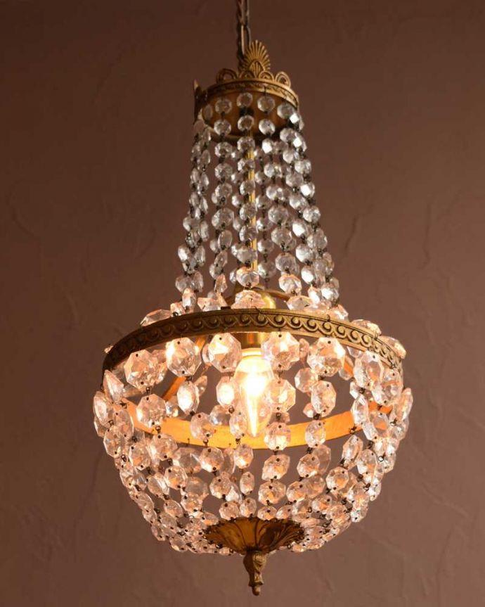 シャンデリア 照明・ライティング フランスアンティークのシャンデリア(1灯)(E26シャンデリア球付)。。(h-820-z)