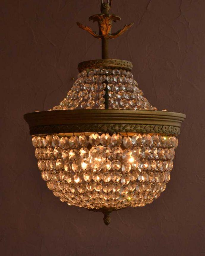 シャンデリア 照明・ライティング フランスで見つけた豪華なアンティークシャンデリア (3灯)(E17シャンデリア球付)。。(h-891-z)