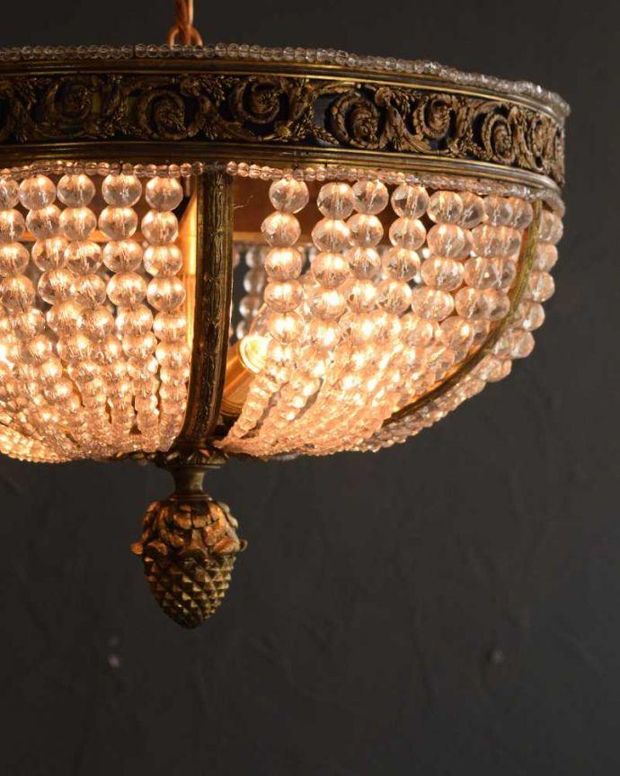 シャンデリア 照明・ライティング フランスで見つけた豪華なアンティークシャンデリア (3灯)(E17シャンデリア球付)。。(h-894-z)