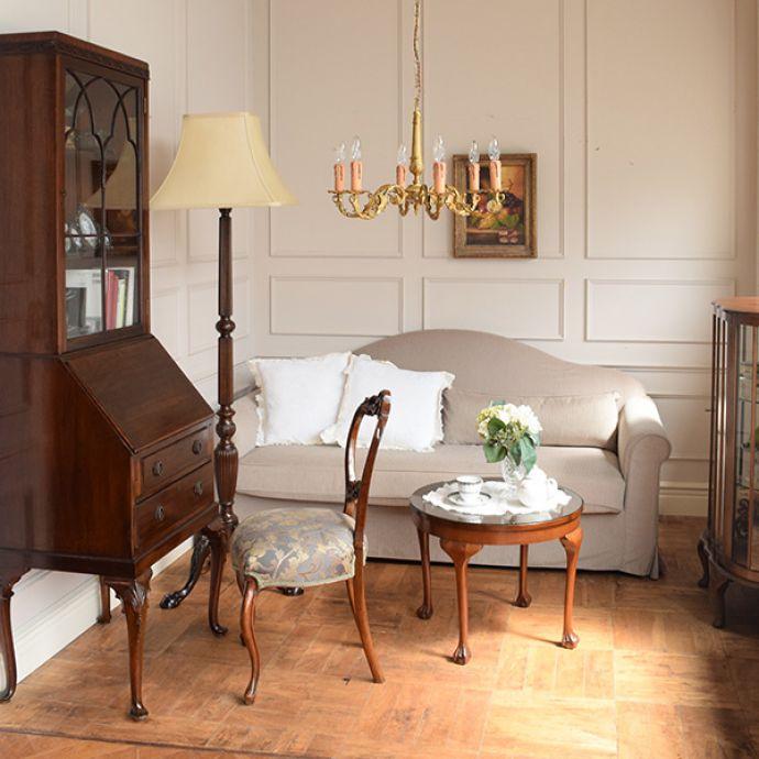 オリジナルソファ アンティーク風 お家の洗濯機で洗えるHandleオリジナルのリネンソファ。英国クラシックの部屋脚の長い上品な雰囲気のお部屋では気品の高さが目立つマリー。(hos-100)