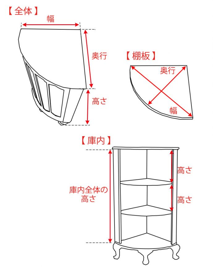 アンティークのキャビネット アンティーク家具 コーナーに置けるドレシングキャビネット、お部屋の角に置くだけで絵になる英国輸入家具。。(k-2175-f)