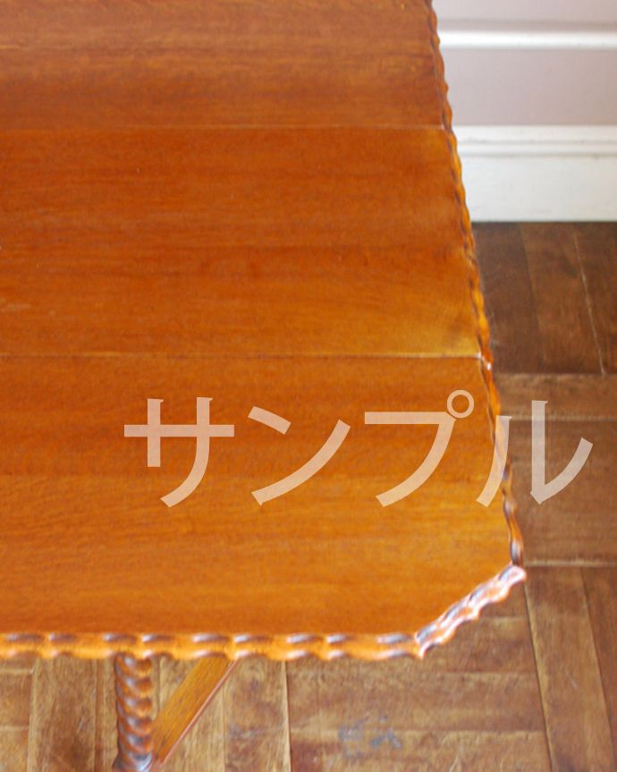 ●●●-f  アンティークゲートレッグテーブルの天板ズーム