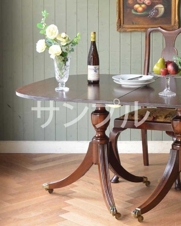 ●●●-f アンティークダイニングテーブル(伸張式)のズーム