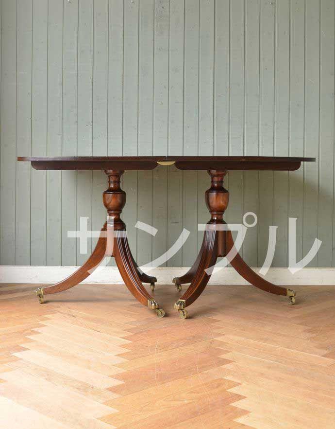 ●●●-f アンティークダイニングテーブル(伸張式)の横(閉じて)
