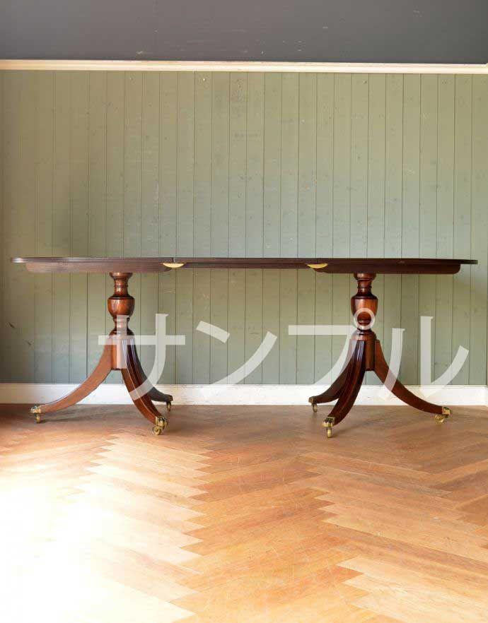 ●●●-f アンティークダイニングテーブル(伸張式)の横(開いて)