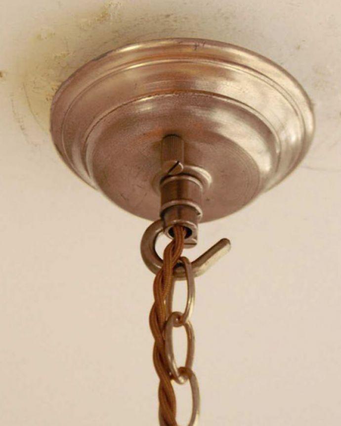 シャンデリア 照明・ライティング ガラスコラムが付いたフランス輸入のアンティーク シャンデリア(3灯)(E17シャンデリア球付)。カバーも付いています。(h-752-z)