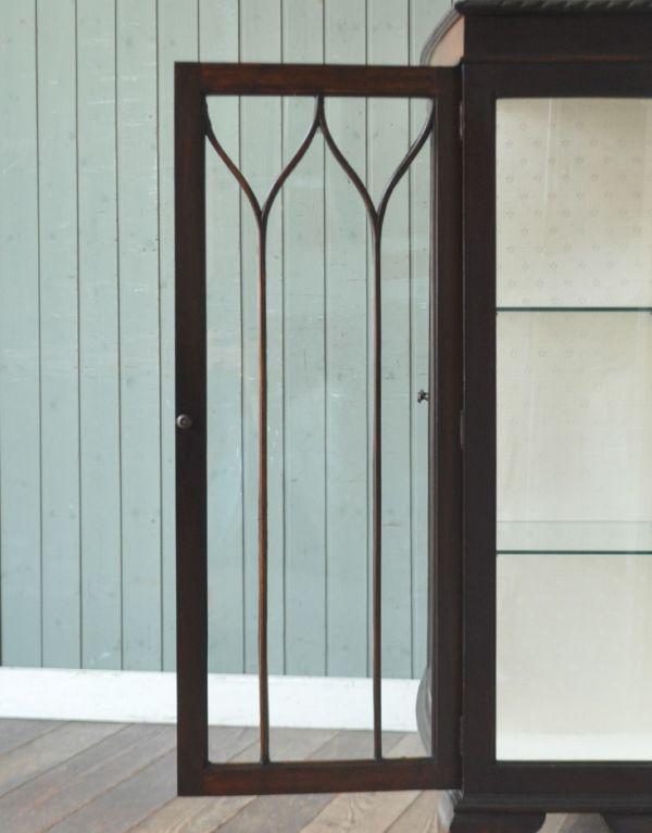 j-1260-f アンティークショーケースのガラス戸