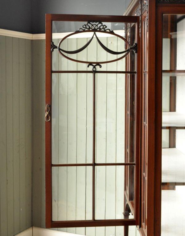 j-1264-f アンティークショーケースのガラス戸