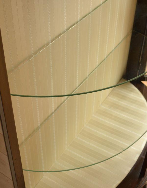 j-1319-f アンティークガラスキャビネットの扉内