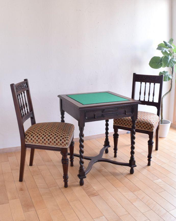 j-1480-f-1 アンティークオケージョナルテーブル(ゲームテーブル)のゲームセット