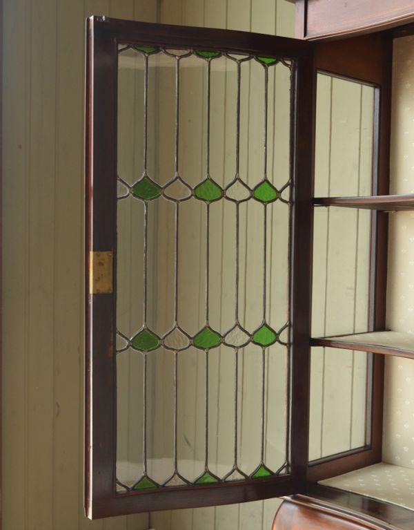 j-1495-f アンティークガラスキャビネットのガラス戸