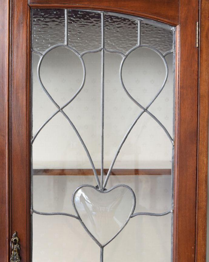 j-1644-f  アンティークガラスキャビネットのガラス2