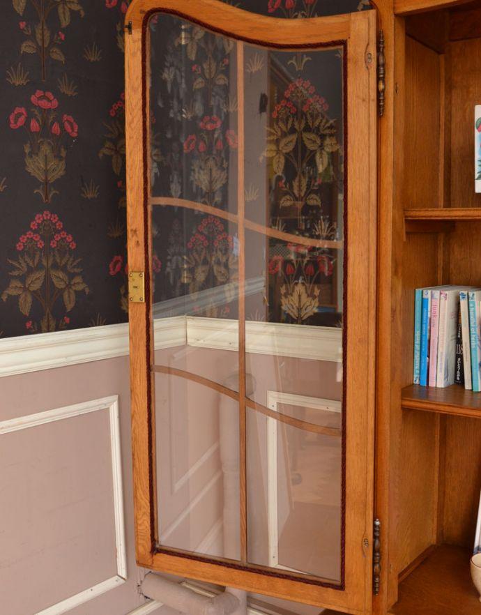 j-1672-f アンティークガラスキャビネットのガラス戸