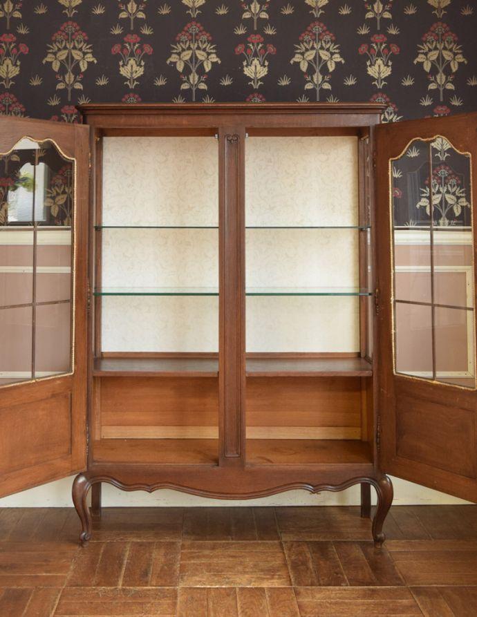 j-1681-f アンティークガラスキャビネットのオープン時