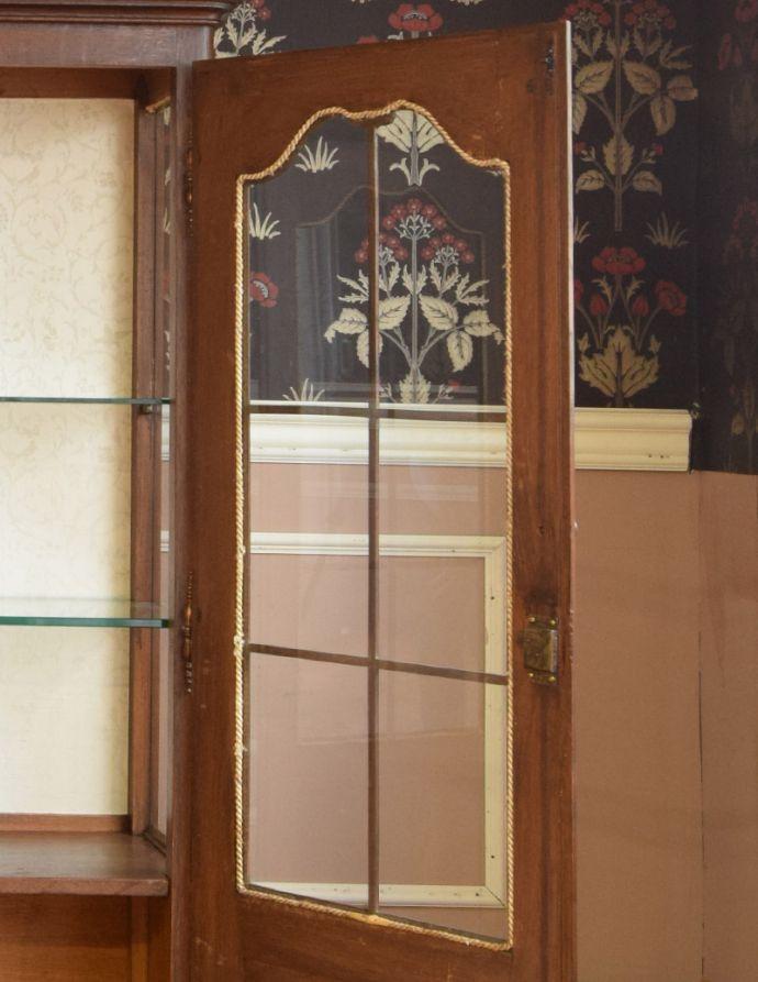 j-1681-f アンティークガラスキャビネットのガラス戸