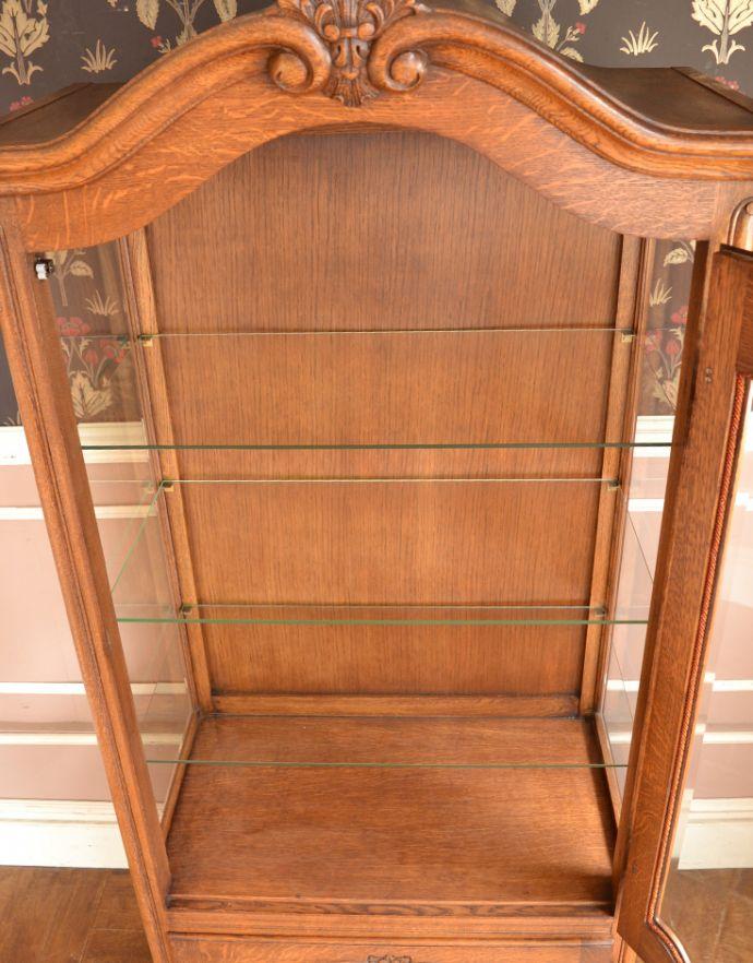 j-1704-f アンティークガラスキャビネットの扉内